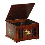 Radio Vinil Marrom Oldway Bivolt - DVD/ MP3/ USB - Em MDF - 47x35 cm