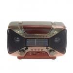 Rádio Vintage AM/FM Marrom e Prata em Madeira - 17x29 cm