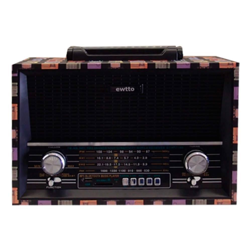 Rádio Vintage Colorido FM / USB / SDCARD / TFCARD - Recarregável - 31x21 cm