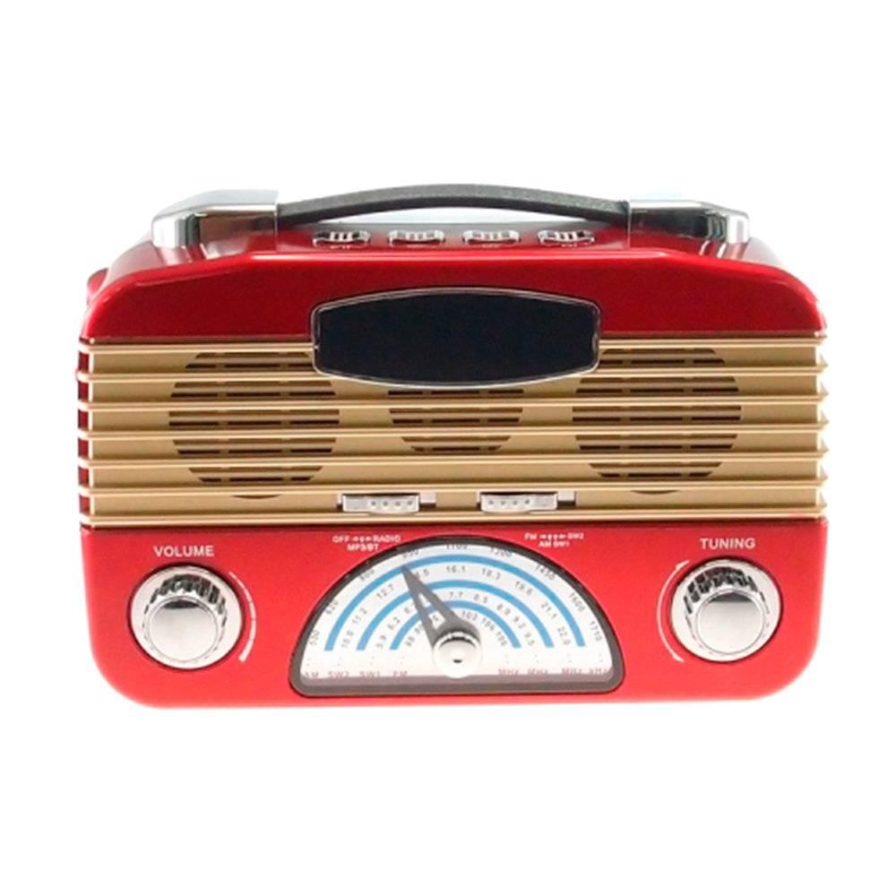 Rádio Vintage Vermelho - MP3 Player / TFCard / SD Card / USB - 27x19 cm