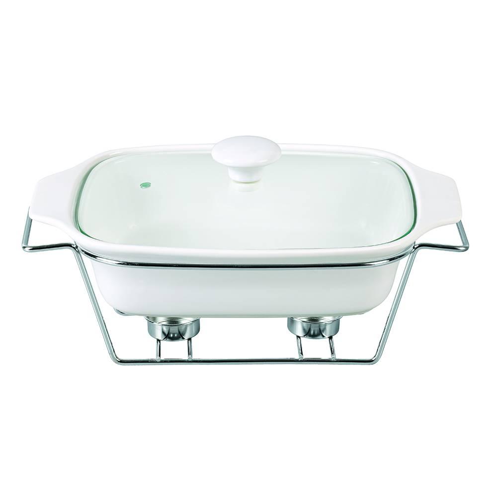 Rechaud Branco Liso Completo em Porcelana - Chama Dupla - Bon Gourmet - 29 cm