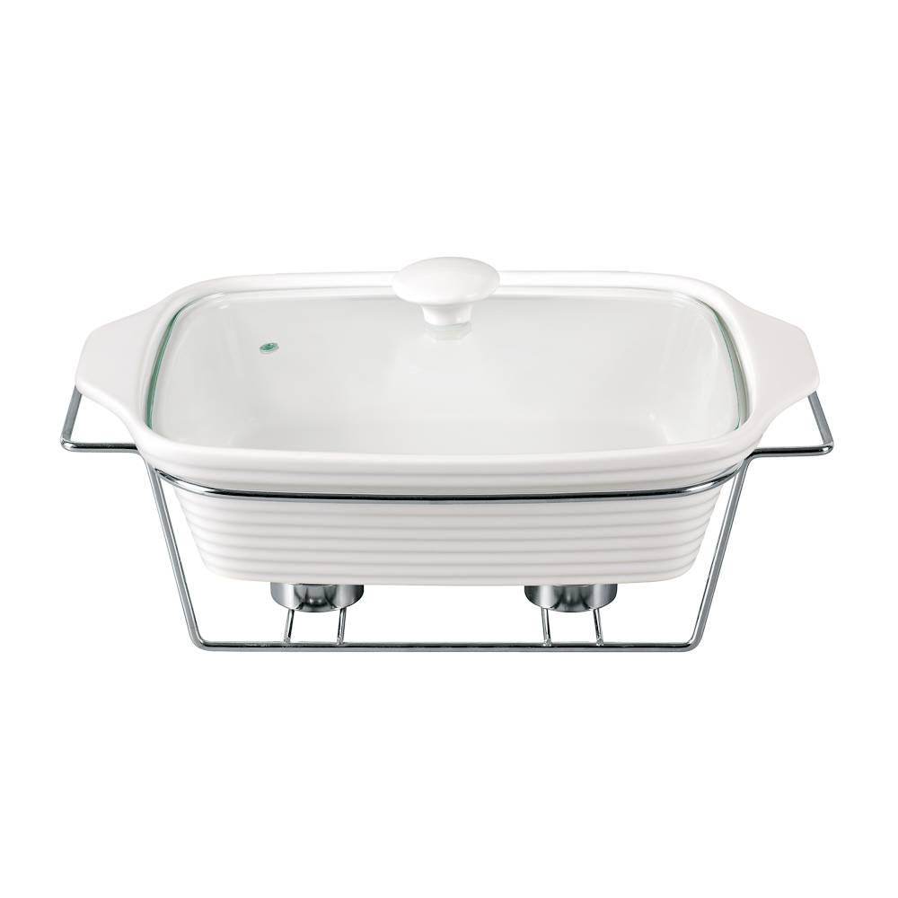 Rechaud Completo Branco Pequeno em Porcelana - Chama Dupla - Bon Gourmet - 29 cm
