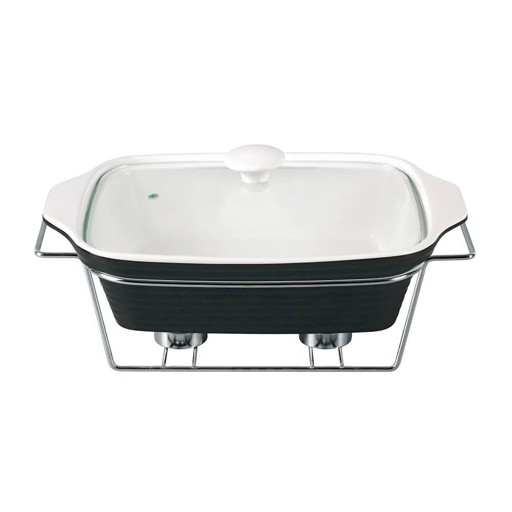 Rechaud Preto e Branco Completo Pequeno em Porcelana - Chama Dupla - Bon Gourmet - 29 cm