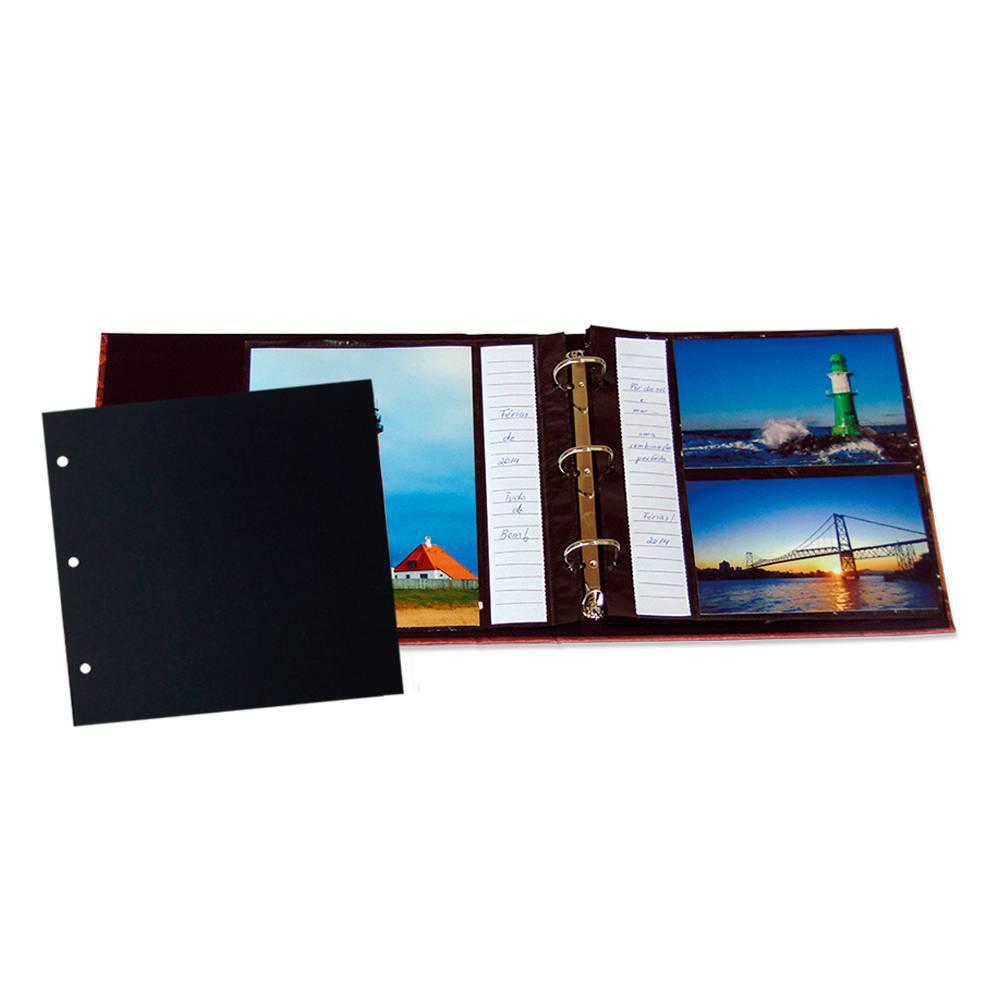Refil para Álbum de Fotos Formato 10x15 - 10 Folhas - Preto Quadrado - 22,5x21,8 cm