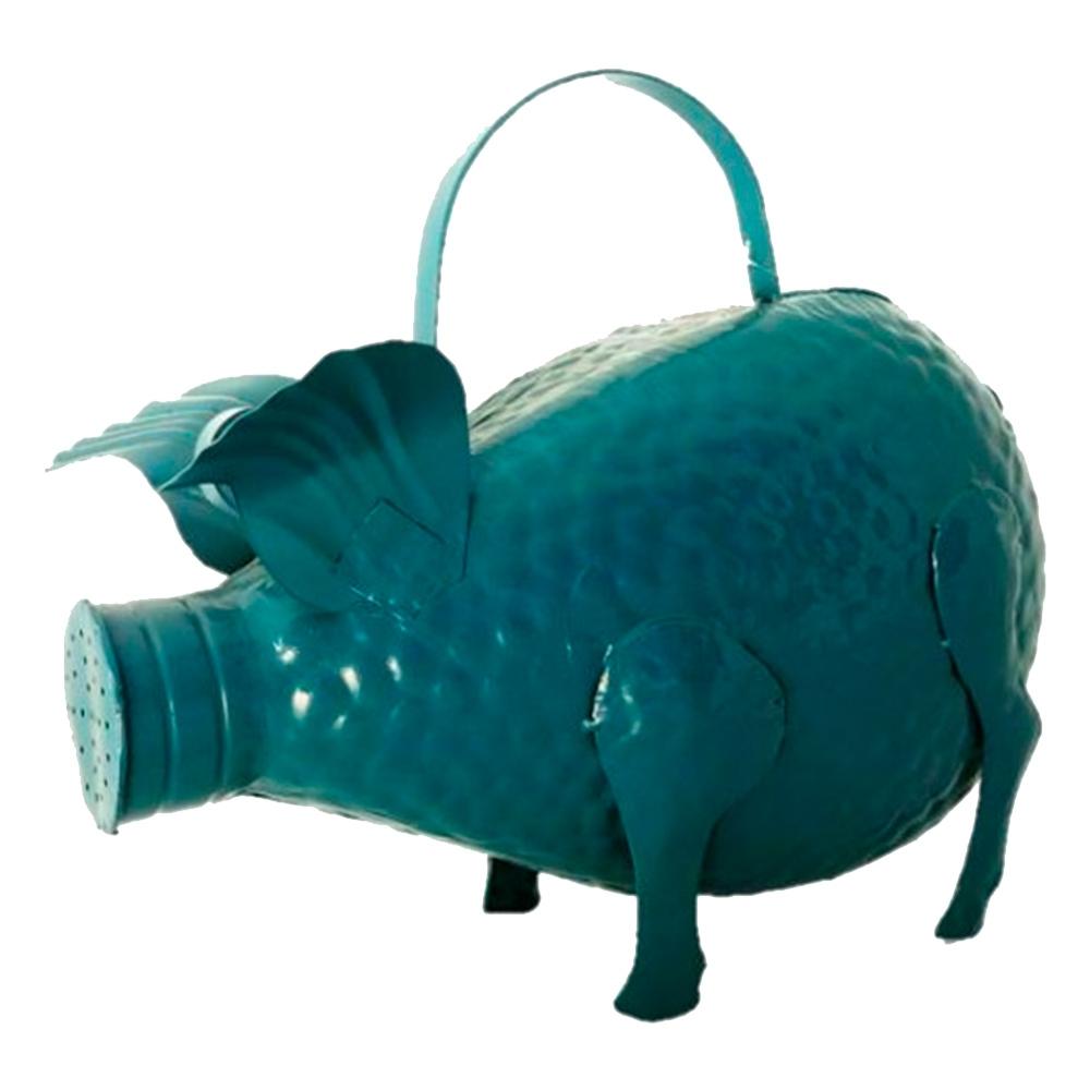 Regador Decorativo Porco Azul em Metal - 38x33 cm
