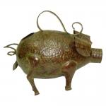 Regador Decorativo Porco Marrom em Metal - 38x33 cm
