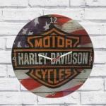 Relógio vidro Harley flag