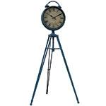 Relógio Antigo com Tripé de Ferro Azul Oldway - 110x50 cm