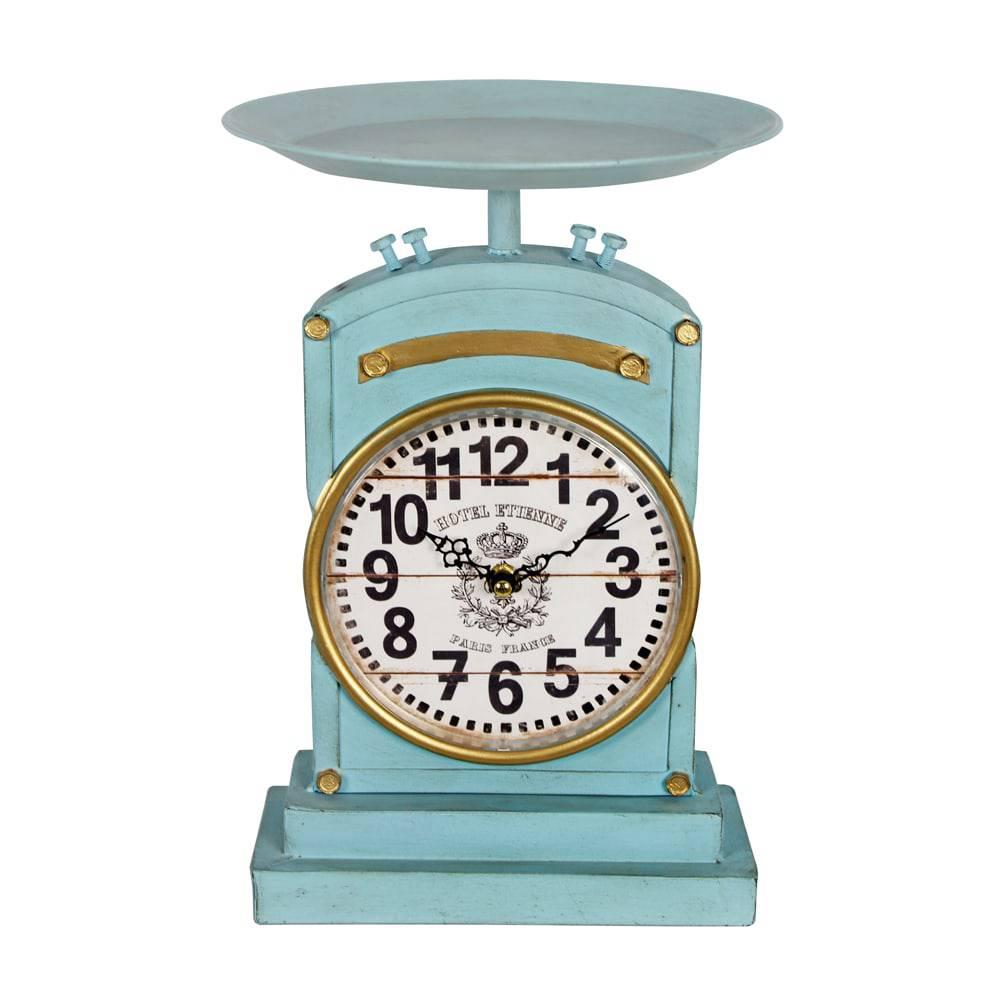 Relógio Balança Vintage Azul Oldway em Metal - 31x22x9cm