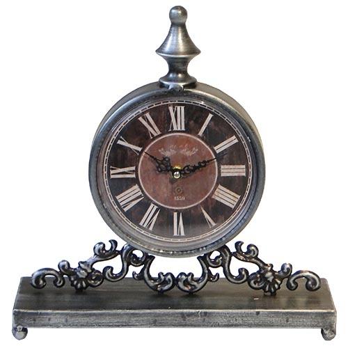 Relógio de Balcão Prata Fundo Vermelho Oldway - 31x30cm