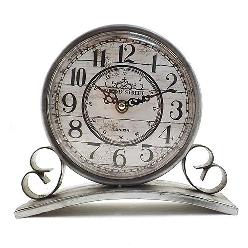 Relógio de Balcão Silver Bond Street em Metal Oldway - 22x18 cm