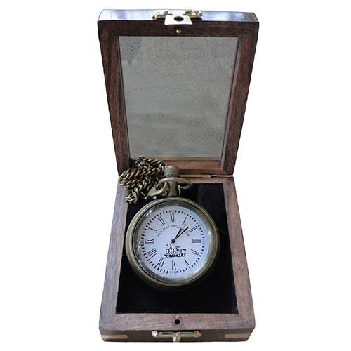 Relógio de Bolso Bronze Box Case Oldway - 10x7 cm