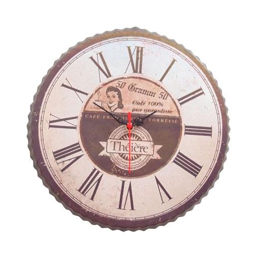 Relógio Bottle Cap Vintage em Metal - 34x34 cm