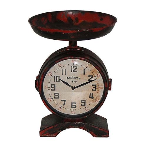 Relógio c/ Fruteira Vermelho 2 Faces Estilo Balança em Ferro Oldway - 36x26 cm