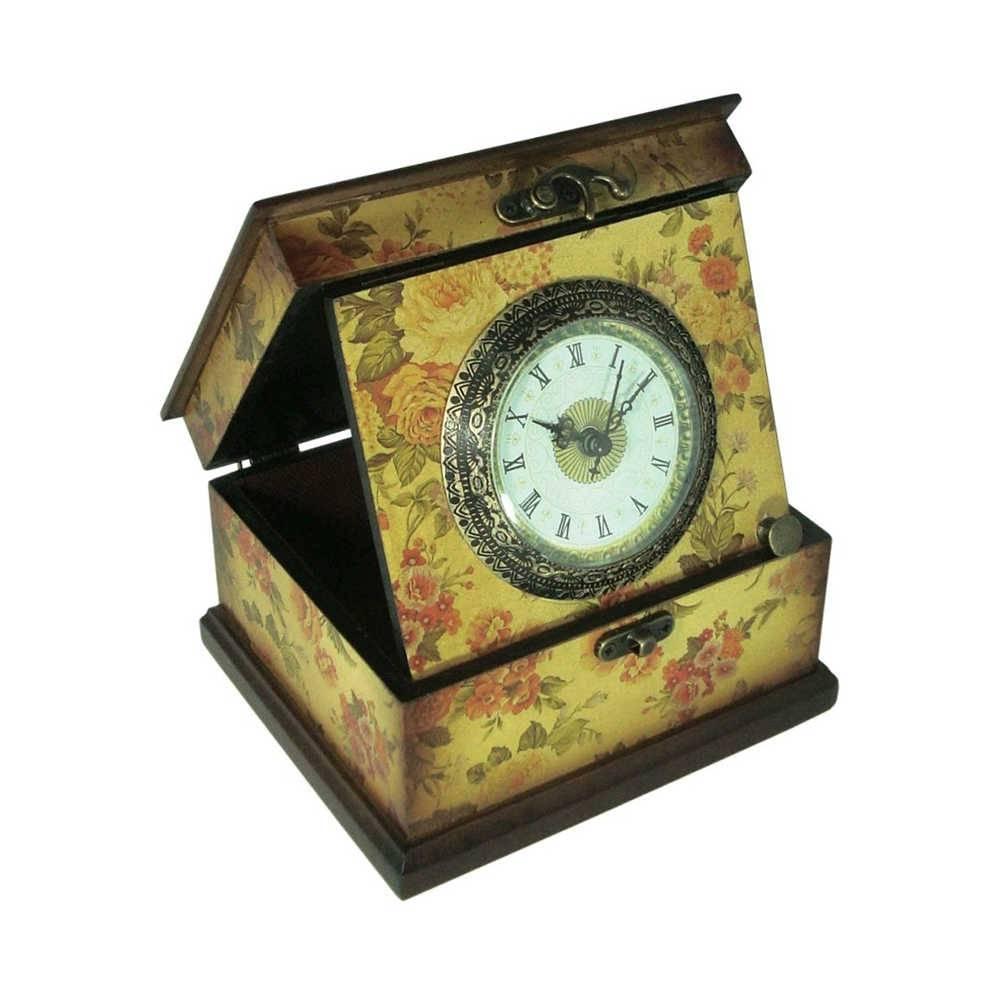Relógio com Caixa Bach Floral Vintage em Madeira - 16,5x14 cm