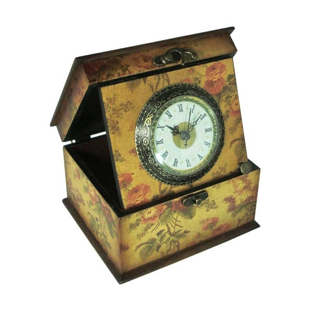 Relógio com Caixa Haendel Floral Vintage em Madeira - 16,5x14 cm