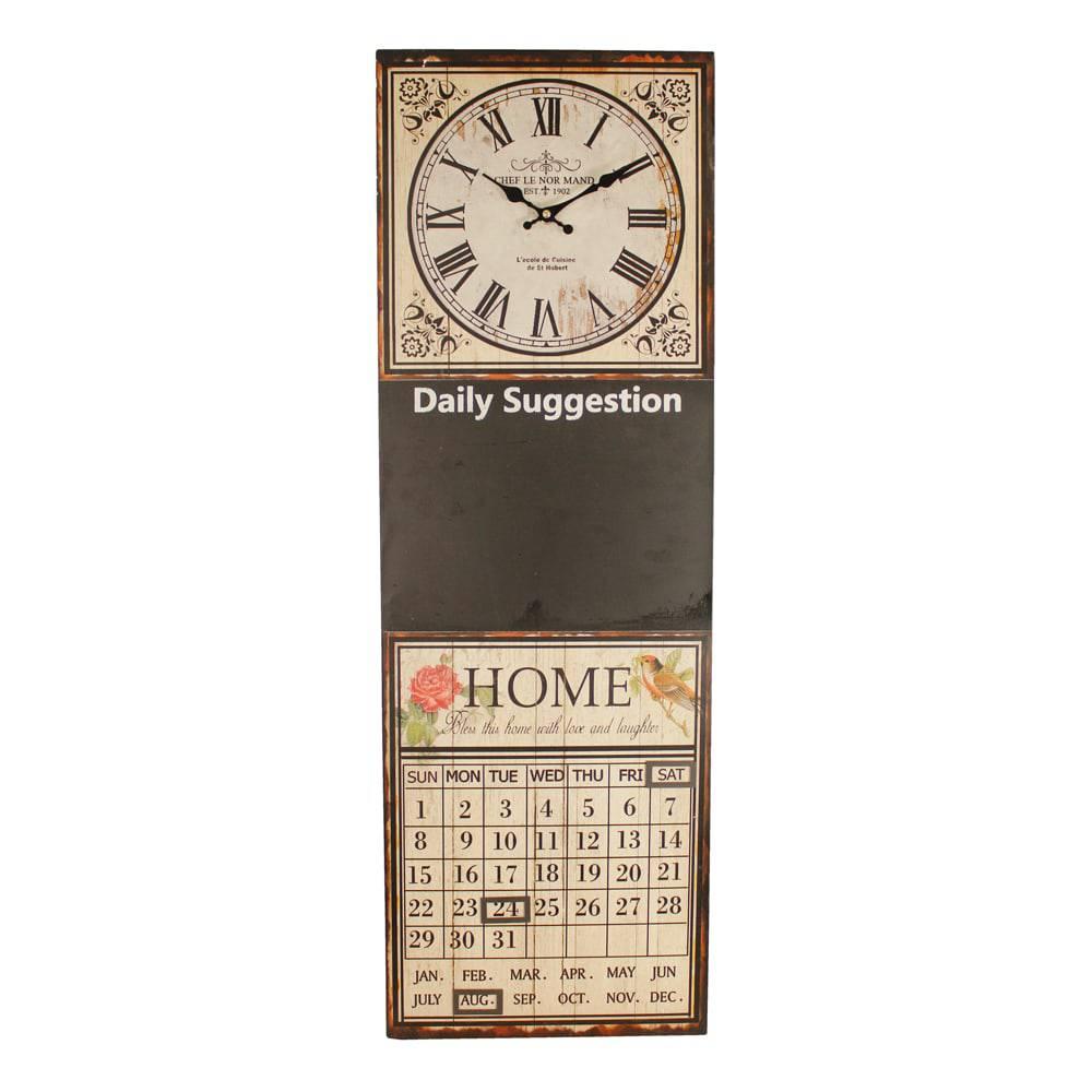 Relógio com Calendário e Lousa Home Oldway em MDF e Metal - 60x30x4cm