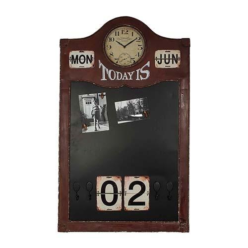 Relógio com Calendário e Quadro Magnético Preto - 101x61 cm