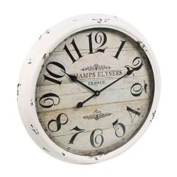 Relógio de Parede Champs Elysees France Branco em Ferro