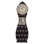Relógio de Chão c/ Calendário e 16 Ganchos em Madeira - 146x45 cm