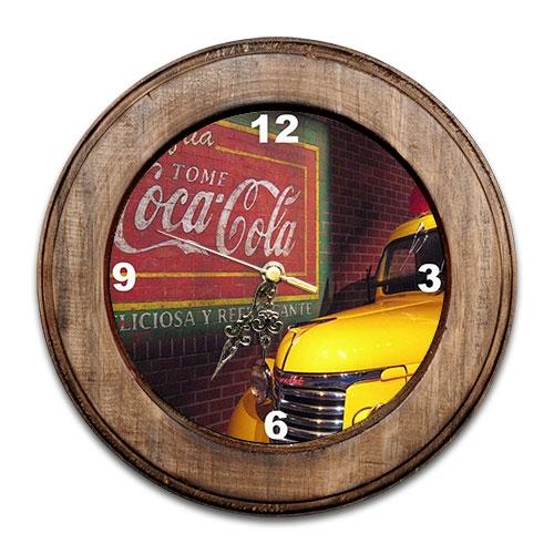 Relógio Coca-Cola Retrô com Moldura de Madeira - 28x28 cm