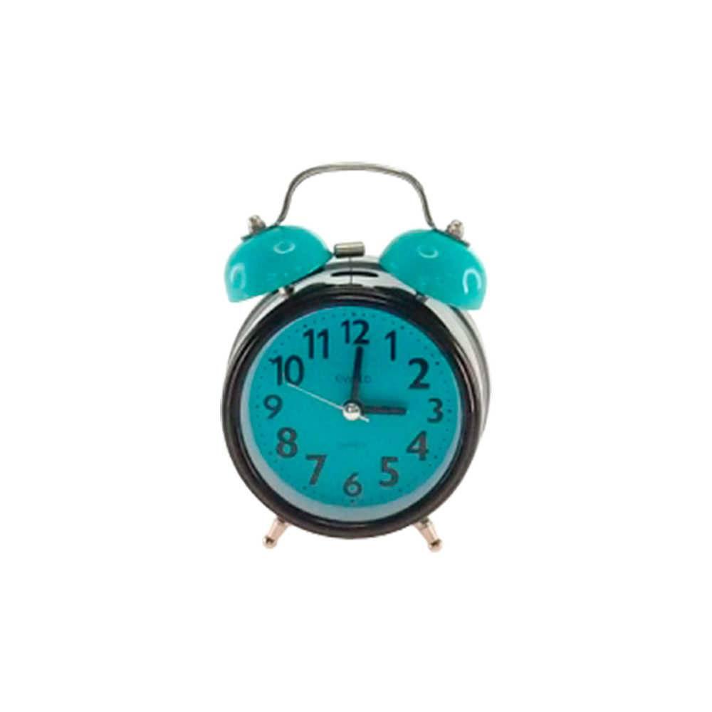 Relógio Despertador Blom Preto e Azul Redondo em Metal - 13x8 cm