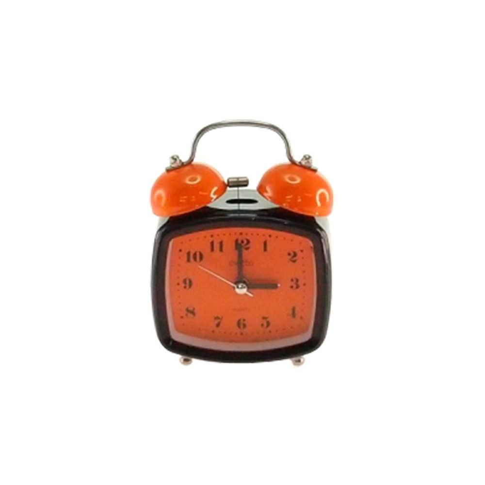 Relógio Despertador Blom Preto e Laranja Quadrado em Metal - 13x8 cm
