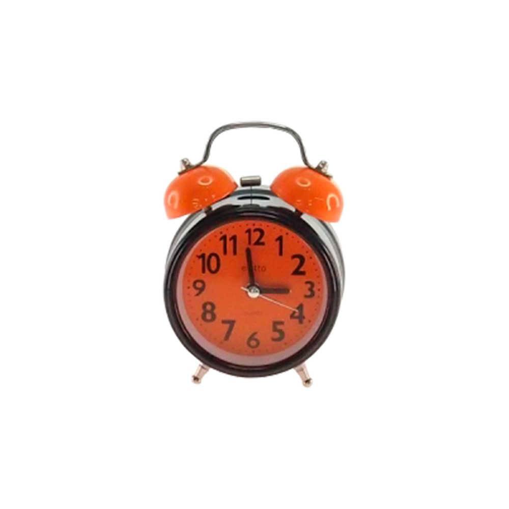 Relógio Despertador Blom Preto e Laranja Redondo em Metal - 13x8 cm