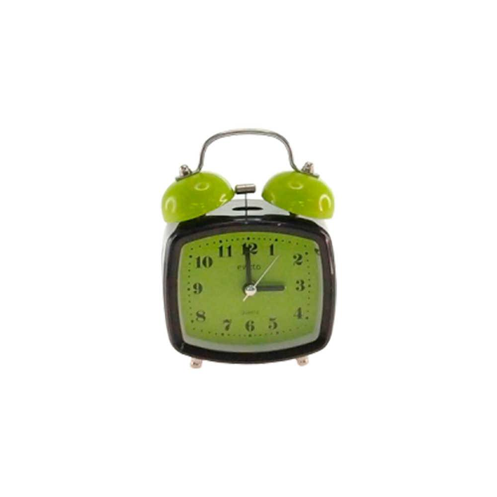 Relógio Despertador Blom Preto e Verde Quadrado em Metal - 13x8 cm