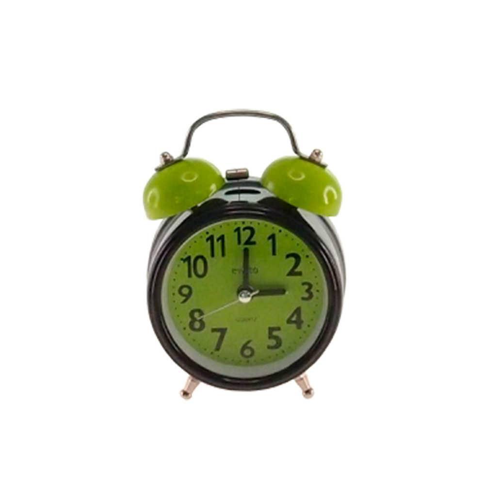Relógio Despertador Blom Preto e Verde Redondo em Metal - 13x8 cm
