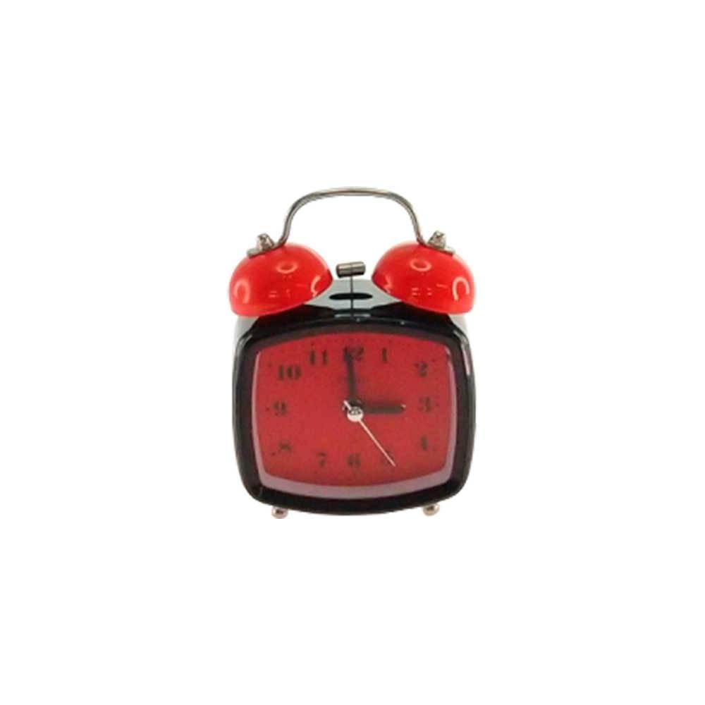 Relógio Despertador Blom Preto e Vermelho Quadrado em Metal - 13x8 cm