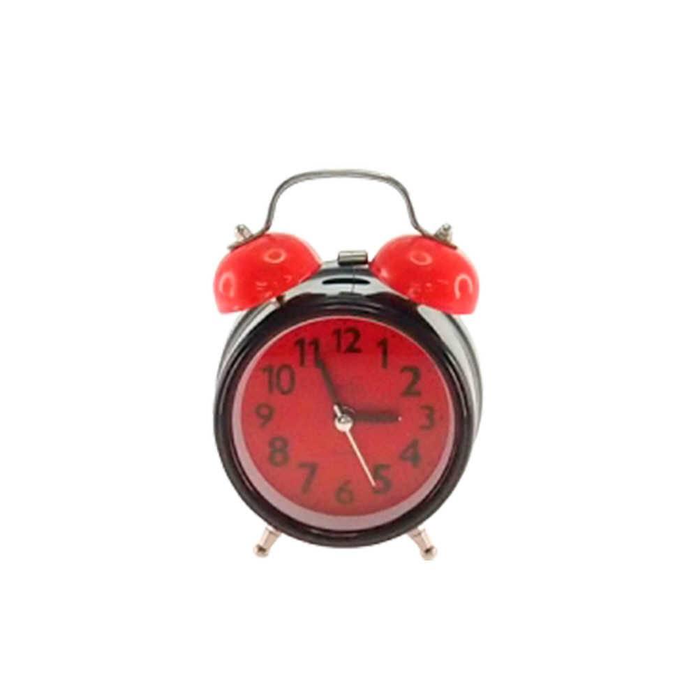 Relógio Despertador Blom Preto e Vermelho Redondo em Metal - 13x8 cm