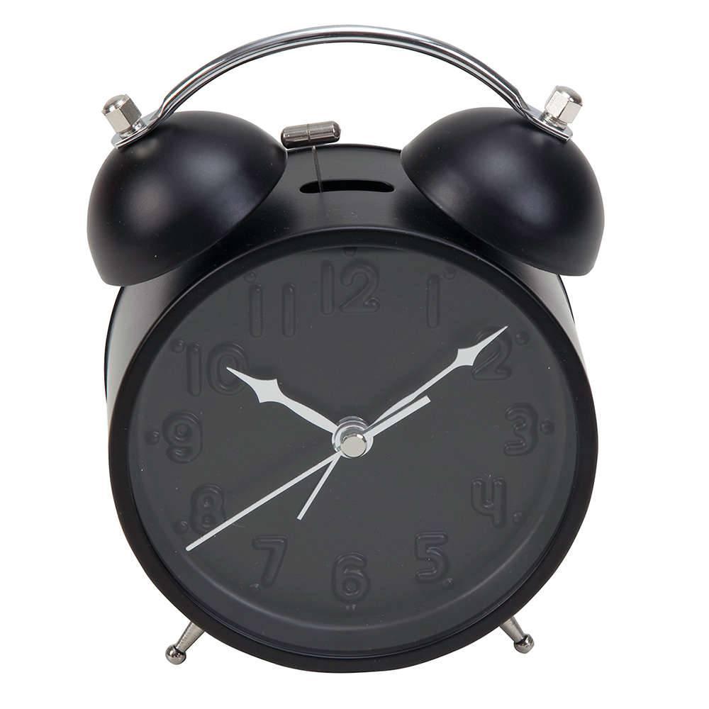 Relógio Despertador Clean Números em Alto Relevo Preto em Metal - Urban - 15x12 cm