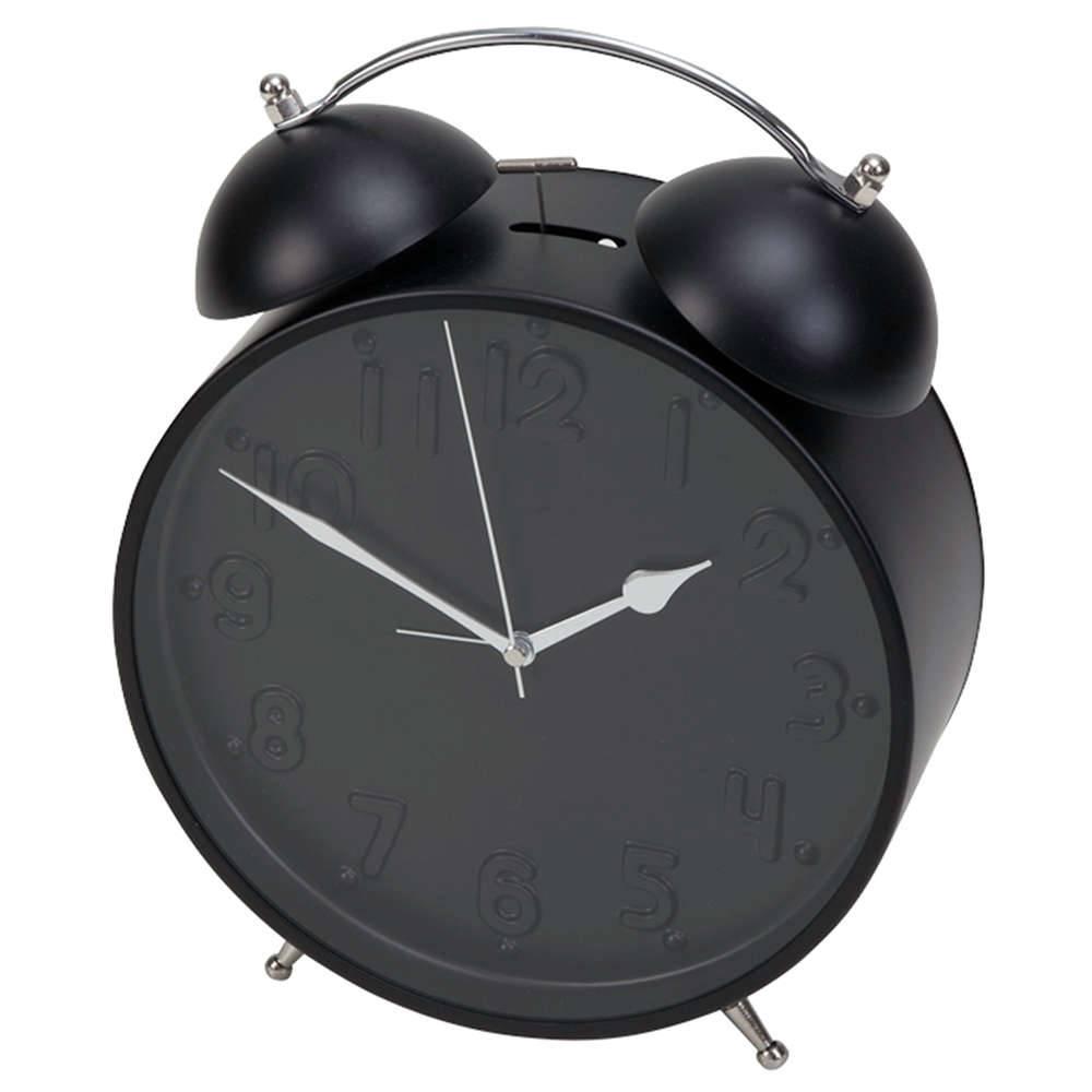 Relógio Despertador Clean Números em Alto Relevo Preto em Metal - Urban - 29x22 cm