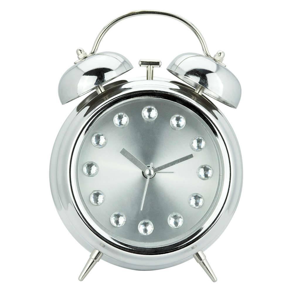 Relógio Despertador Diamont Prateado Grande em Metal - Urban - 20x15 cm