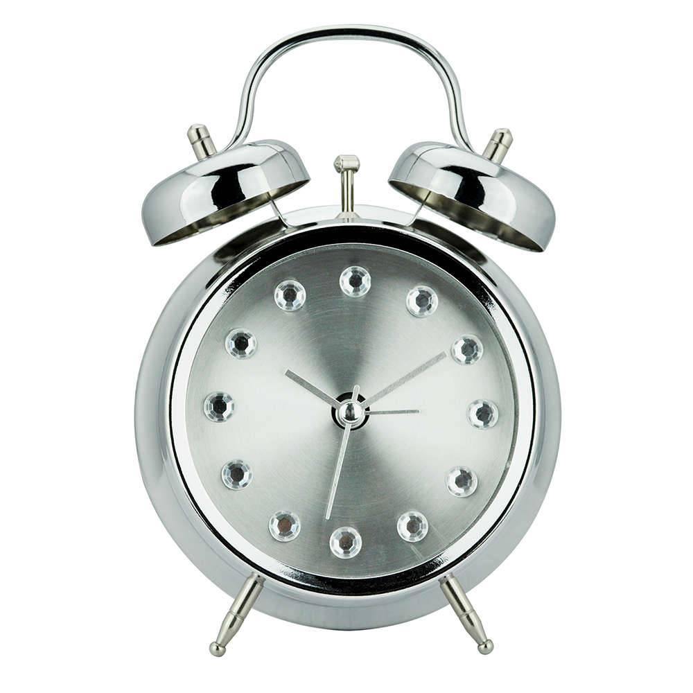 Relógio Despertador Diamont Prateado Pequeno em Metal - Urban - 17x11,8 cm