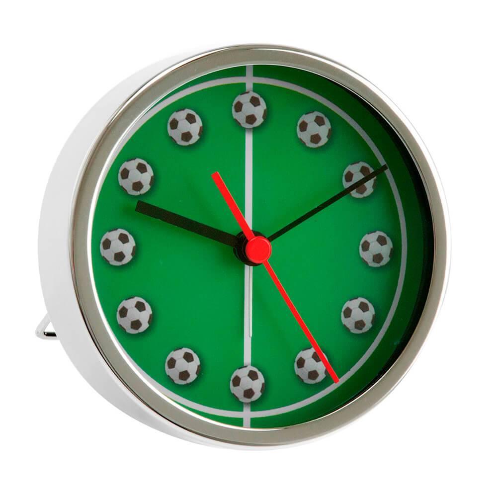 Relógio Despertador Footbal Field em Aço Cromado - Urban - 9x5 cm