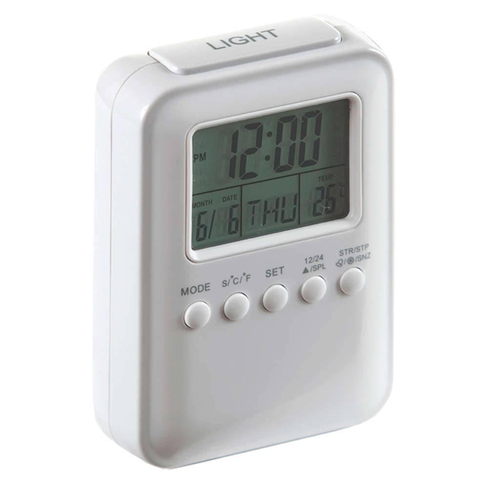 Relógio Despertador Frieze com Medidor de Temperatura Branco Brilhante - Urban - 12x8 cm