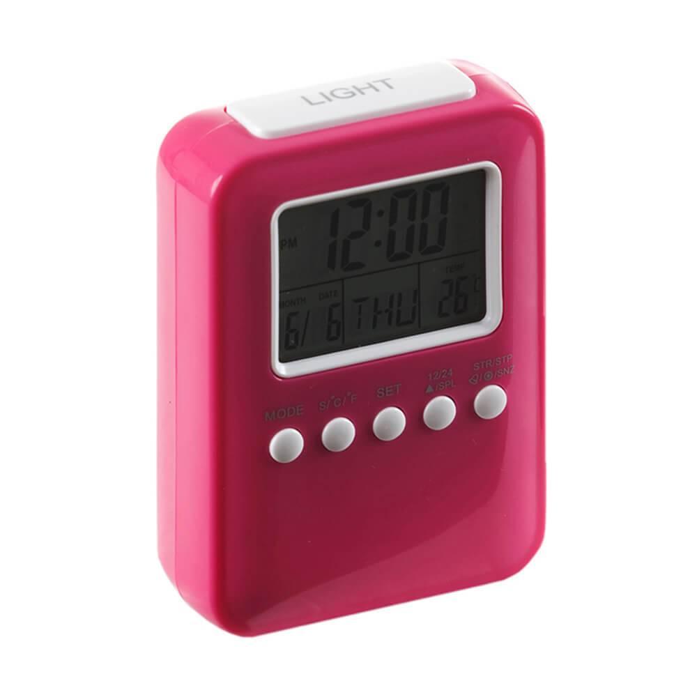 Relógio Despertador Frieze com Medidor de Temperatura Pink Brilhante - Urban - 12x8 cm