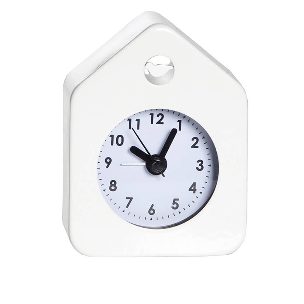 Relógio Despertador House Style Branco em Aço - Urban - 10x7 cm