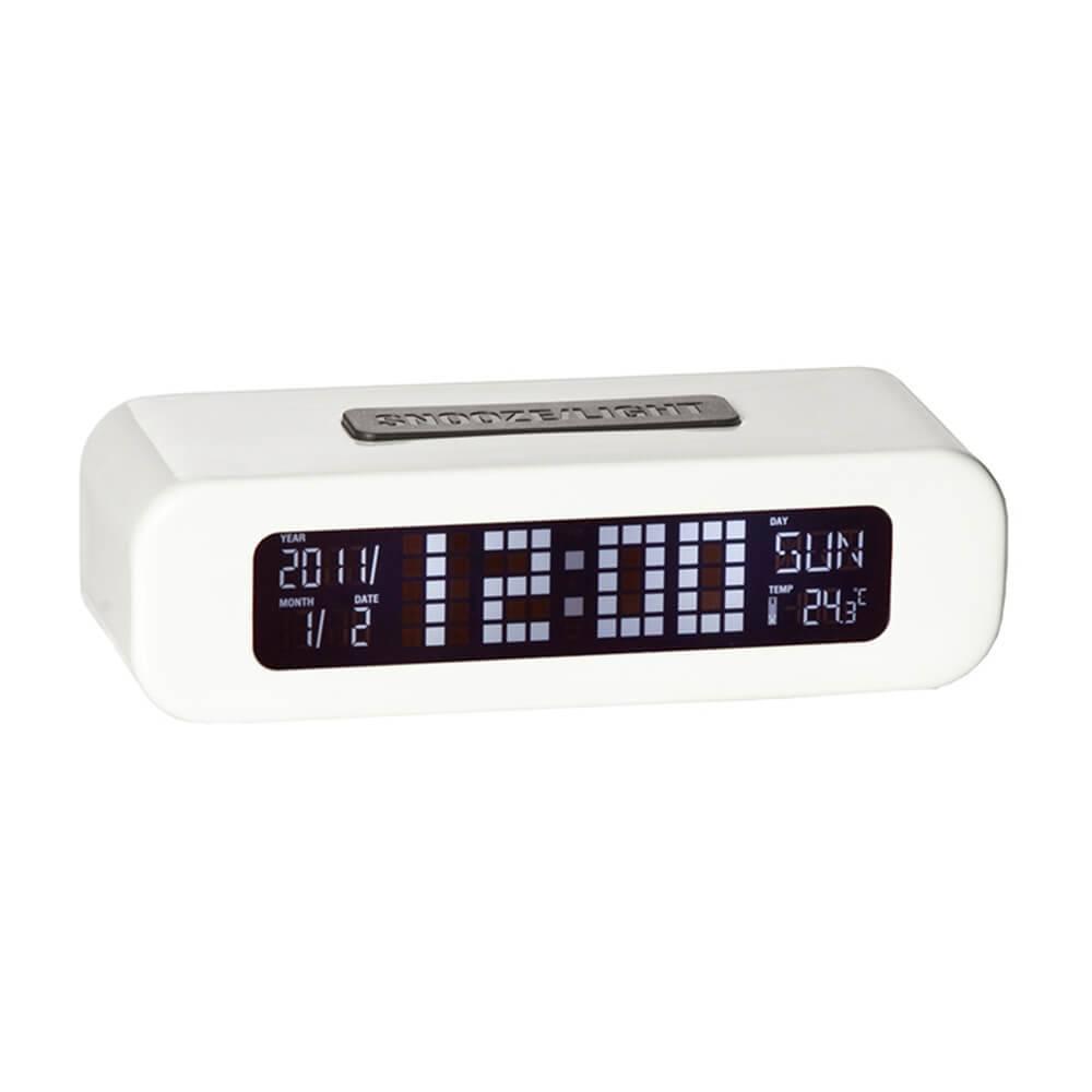 Relógio Despertador LCD Digital Branco - Urban - 13,5x9 cm