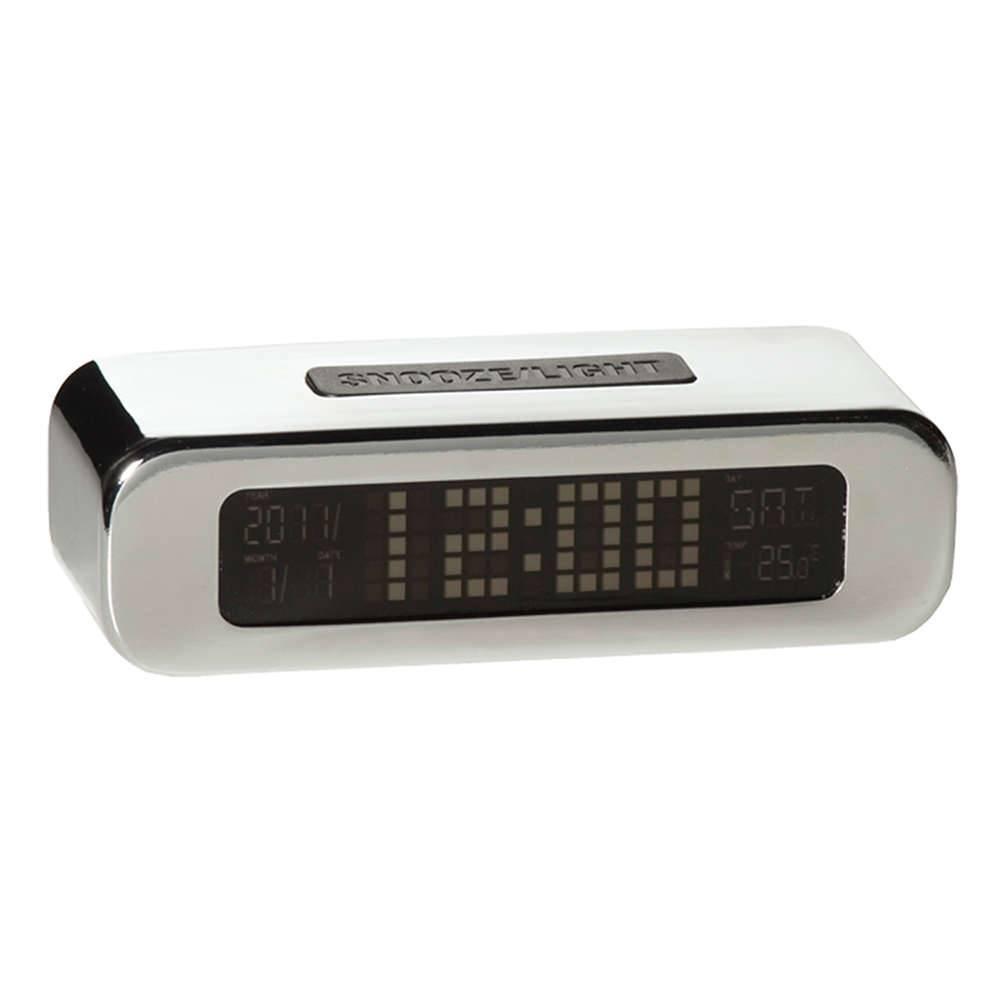 Relógio Despertador LCD Digital Cromado - Urban - 13,5x9 cm