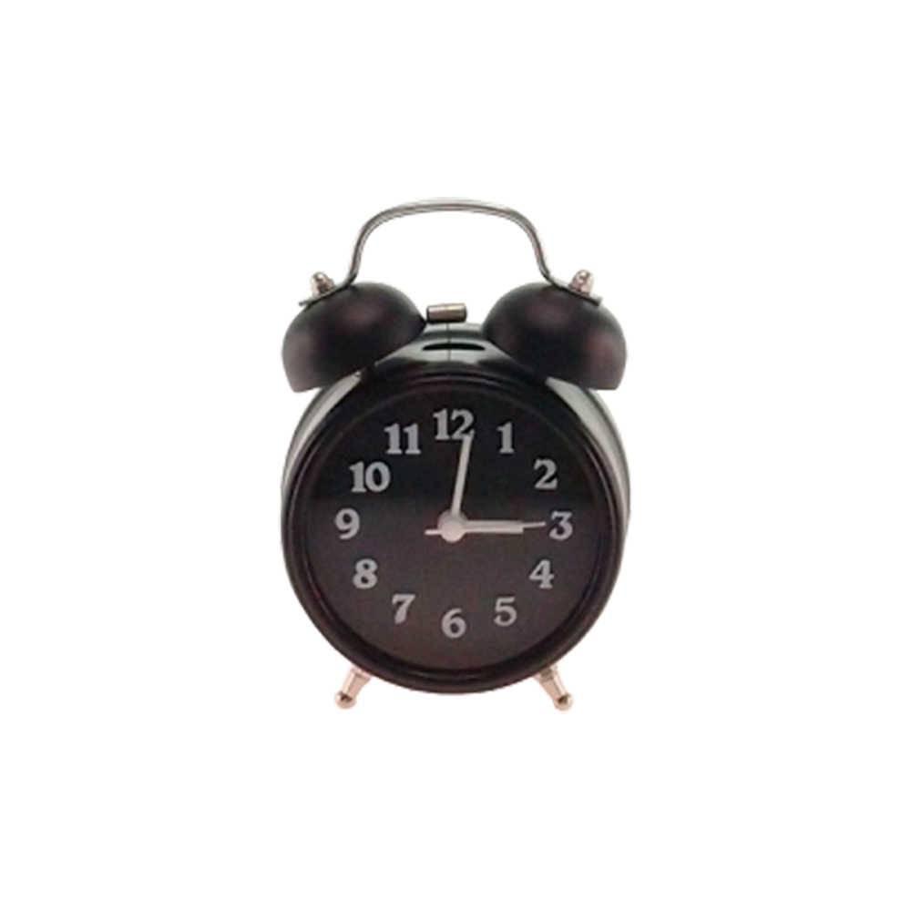 Relógio Despertador Lince Preto Redondo - 13x8 cm
