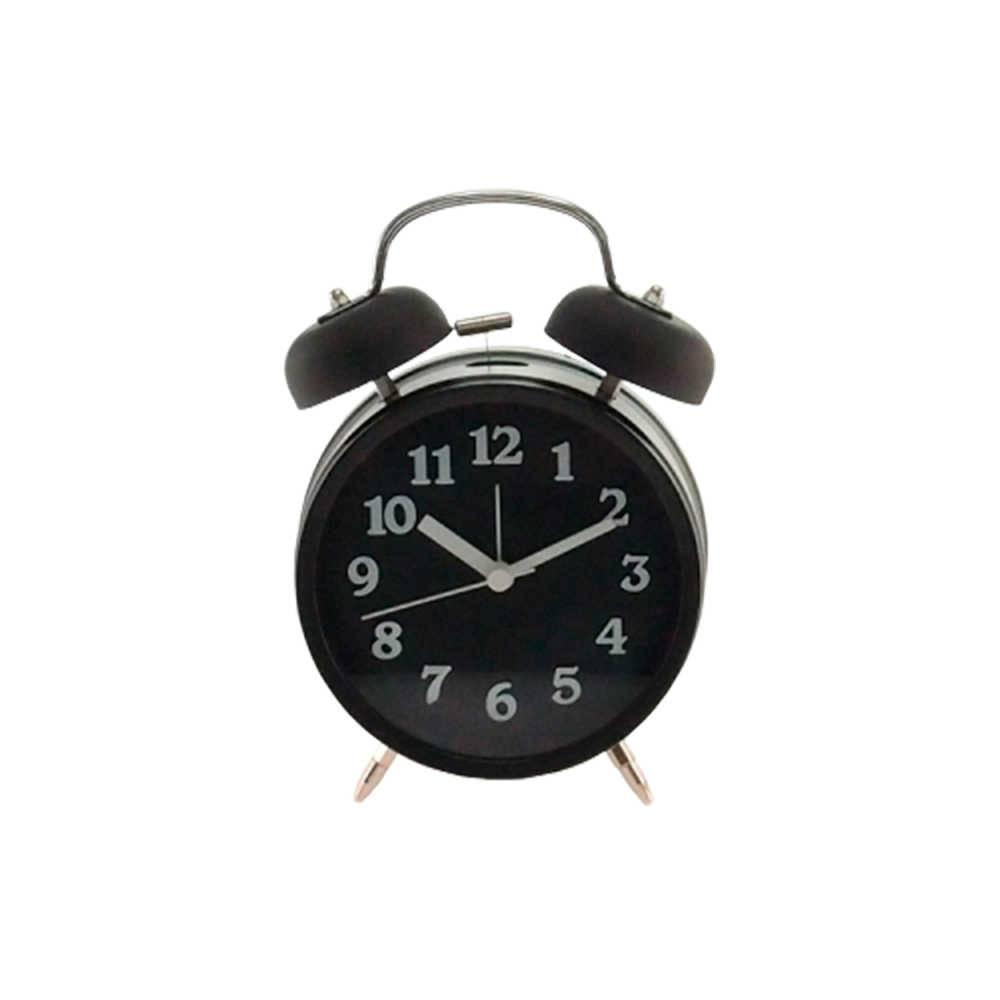 Relógio Despertador Lince Preto Redondo - Médio - 18x12 cm