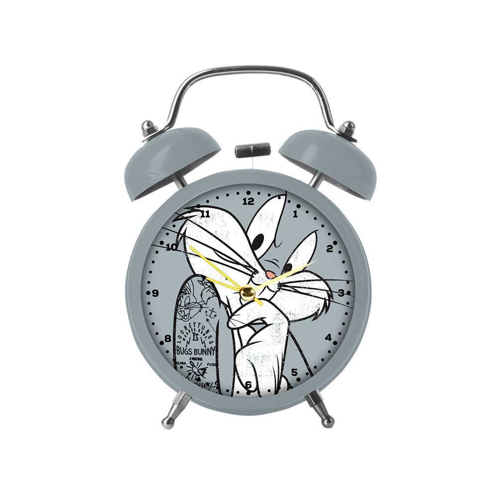 Relógio Despertador Looney Tunes Bug Bunny Concerned Cinza em Metal - Urban - 17x11,8 cm
