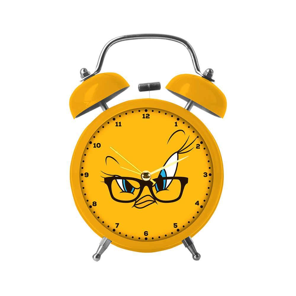 Relógio Despertador Looney Tunes Tweety Big Face Amarelo em Metal - Urban - 17x11,8 cm