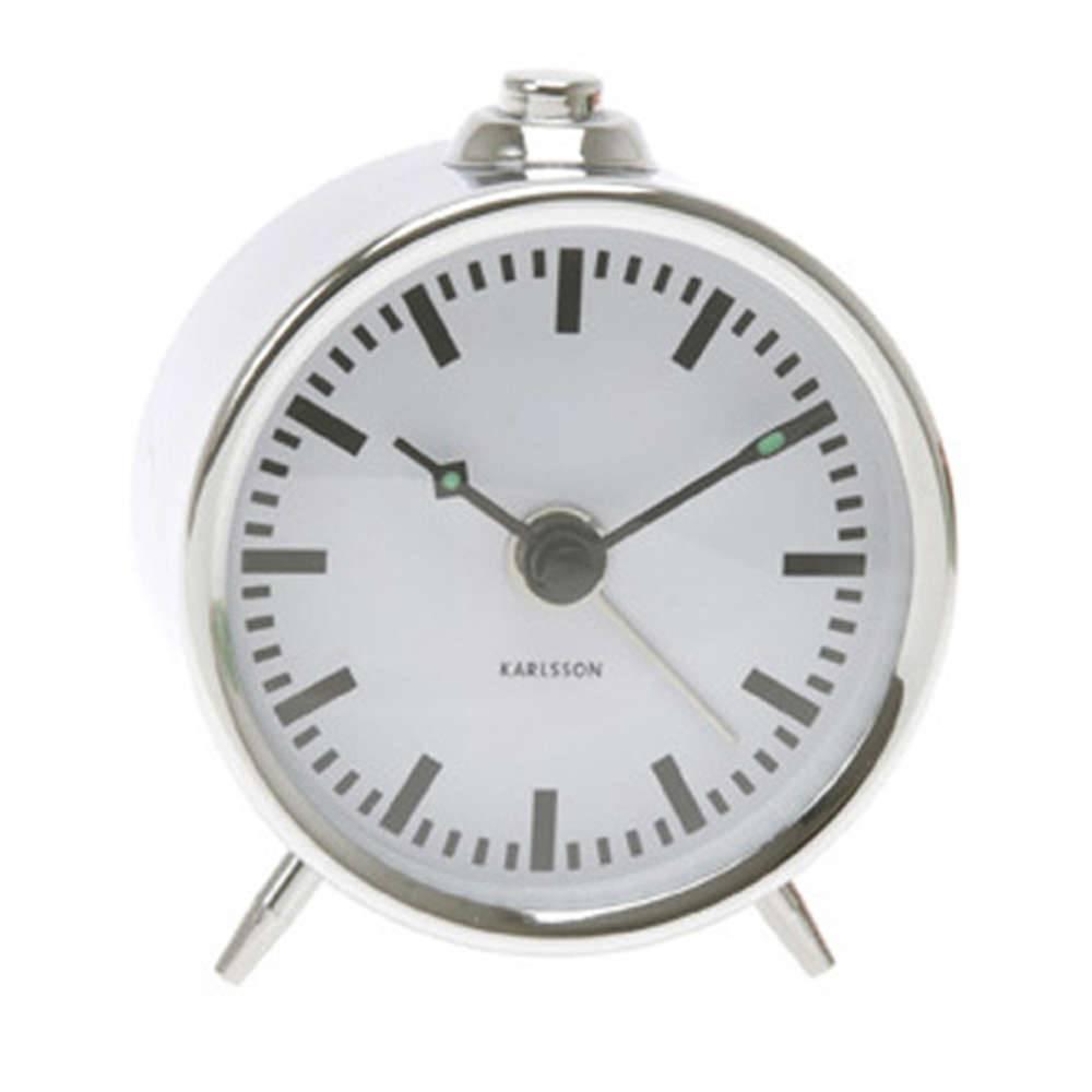 Relógio Despertador Mini Binky Cromado em Metal - Urban - 7 cm
