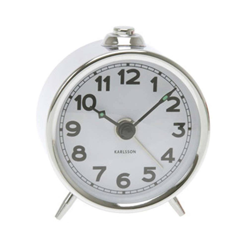 Relógio Despertador Mini Binky Numerado em Metal Cromado - Urban - 7 cm