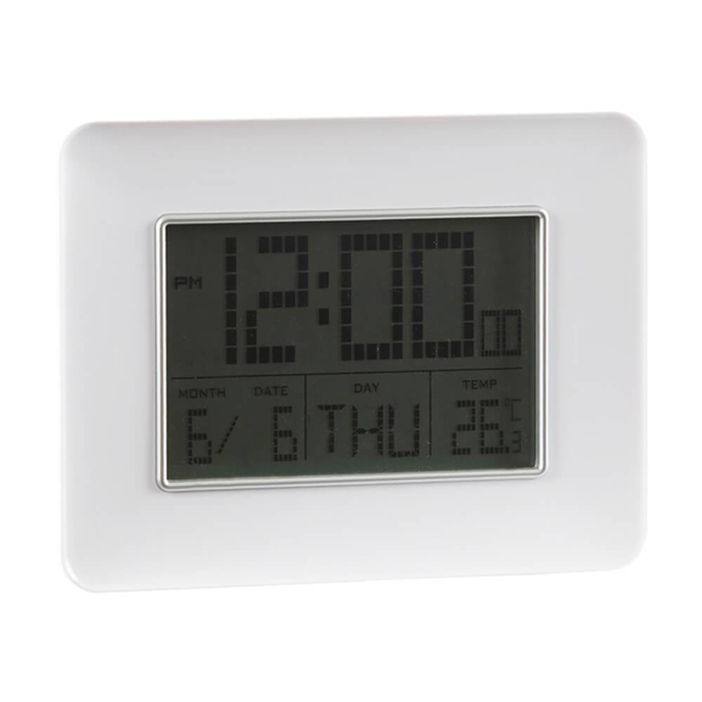 Relógio Despertador Portrait Branco com Medidor de Temperatura e Base Fixa - Urban - 19x14 cm