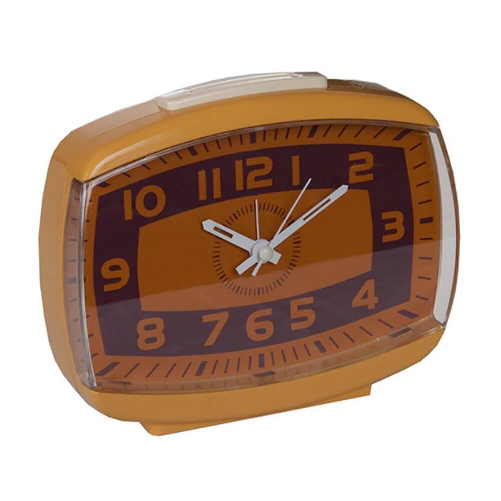 Relógio Despertador Retro Brown Line Bege/Marrom - Urban - 14,5x12,5 cm